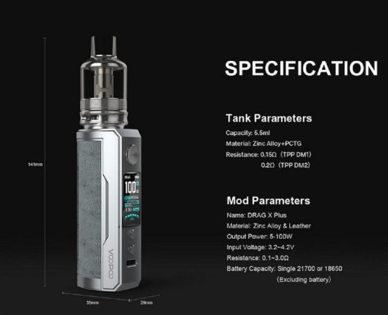 Voopoo Drag X Plus 21700 TPP Tank [SigarettaElettronicaForum.com]